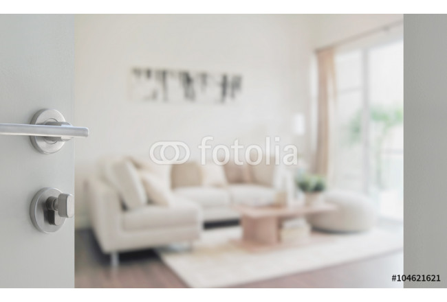 Painting opened white door to modern living room interior 64239