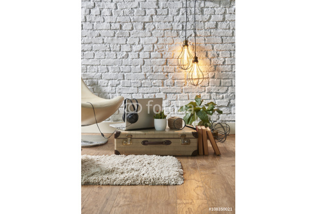 vintage winter with modern interior style and white chair 64239