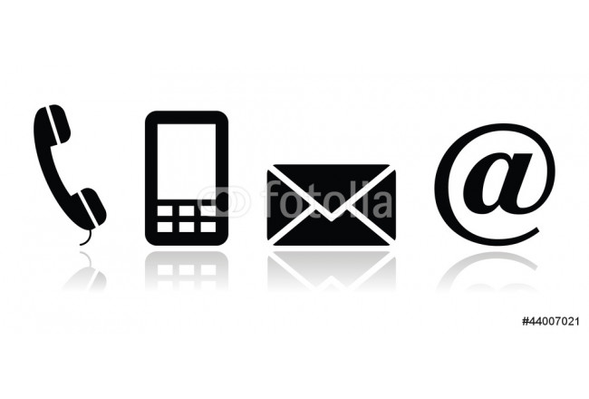 Contact black icons set - mobile, phone, email, envelope 64239