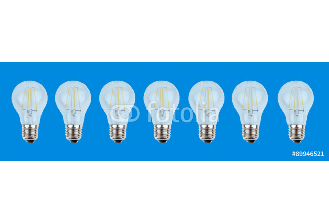 Horizontal row of bulbs on blue background 64239