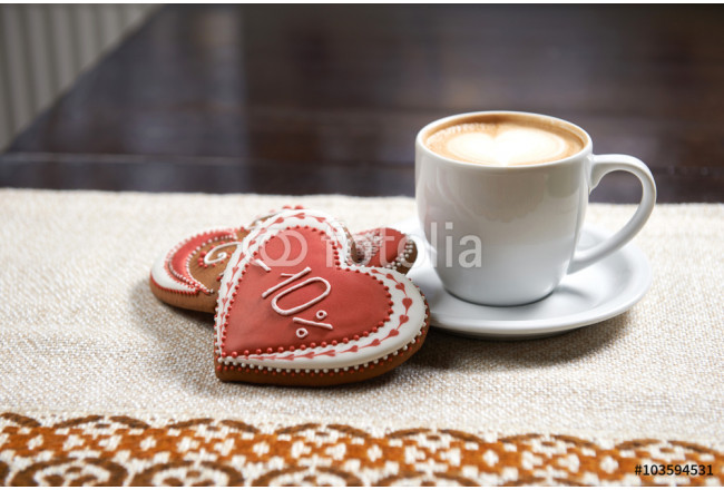 Amazing morning. High angle closeup of a Valentine's day breakfast on the table coffee with cookies served 64239