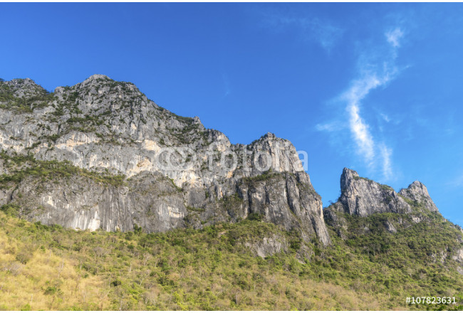 Beautiful blue sky with mountain at Khao Sam Roi Yot National Park, Thailand, landscape Series 64239