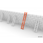 Several ladders with different length leaning the brick wall 64239