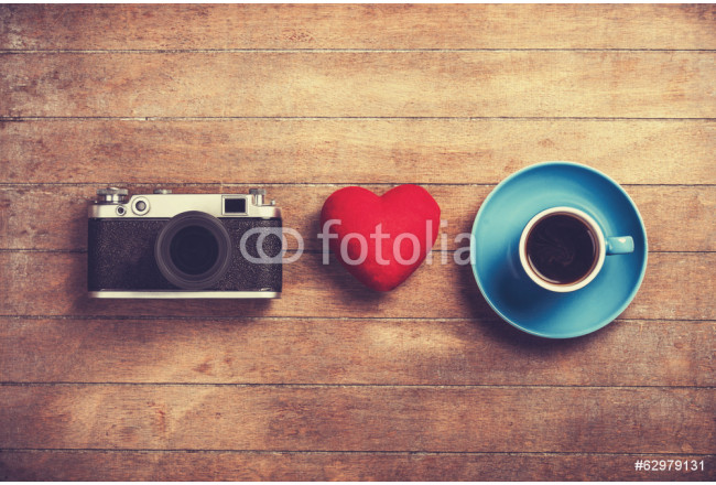 Camera, red heart and cup of a coffee. 64239