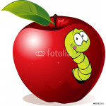 illustration of Cartoon Worm In Red Apple 64239