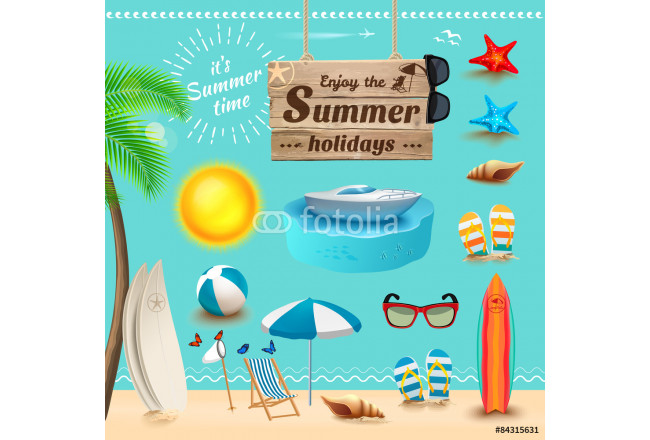 Set of realistic summer icons. Vector illustration 64239