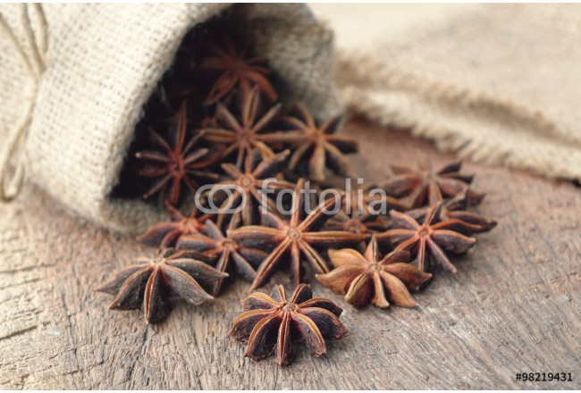 Star anise in sackcloth bag 64239