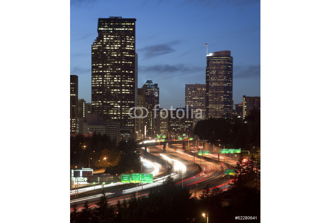 Buildings City Downtown Seattle Washington Interstate 5 Sunset 64239