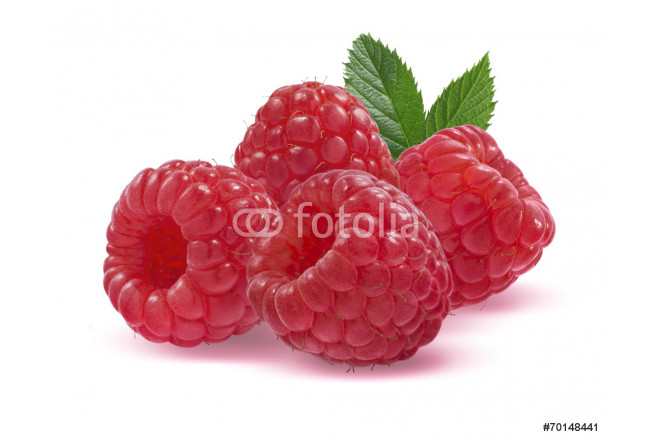 Four raspberries isolated on white background 64239