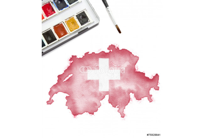 Watercolor painting of Switzerland in the national colors.(serie 64239