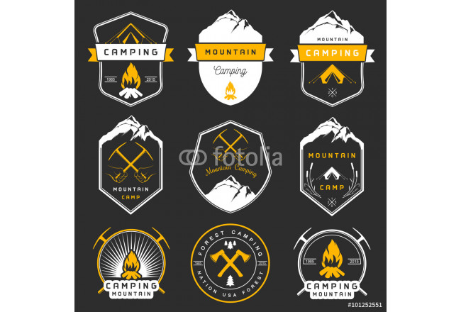 Bild auf Leinwand Set of Vector Badges Camping and Hiking 64239