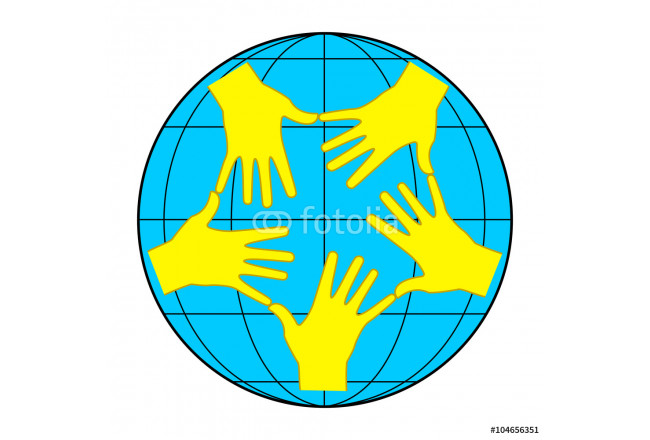 Earth and yellow hands 64239