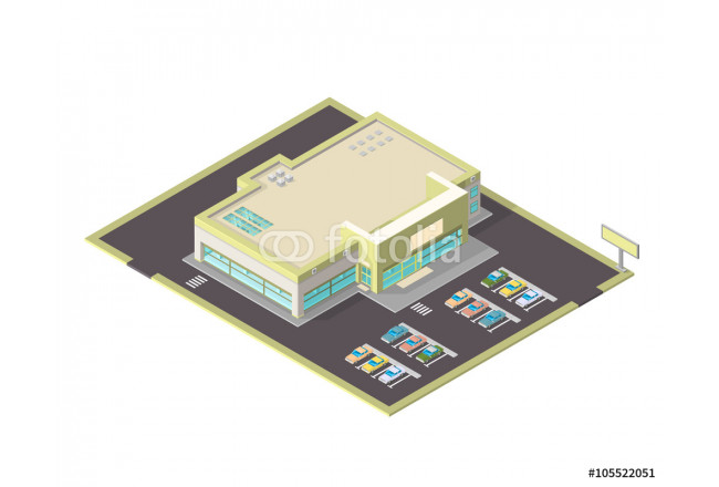 Isometric vector icon of s large isometric grocery store.