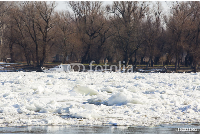 Quadro big chunk of ice in the river danube on a winter day near a