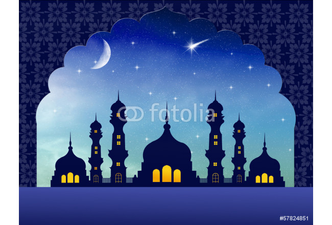 Silhouette of mosques in the moon night 64239