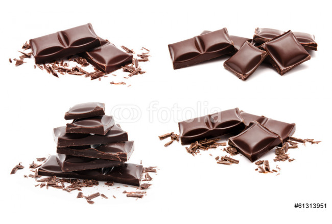 Toile déco Collection of chocolate bars stack isolated on a white 64239