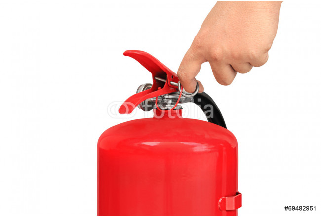 Hand pulling pin of fire extinguisher 64239