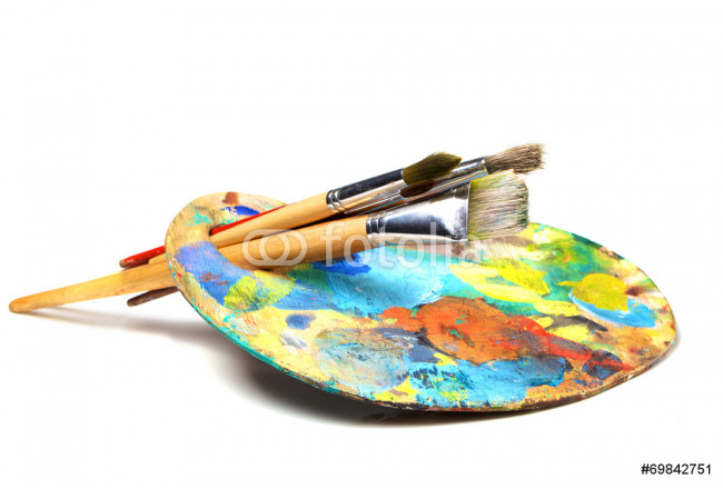 Art palette with paint and a brush on white background 64239