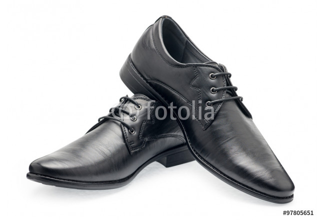 A pair of classical black leather shoes for men, with shoelaces 64239