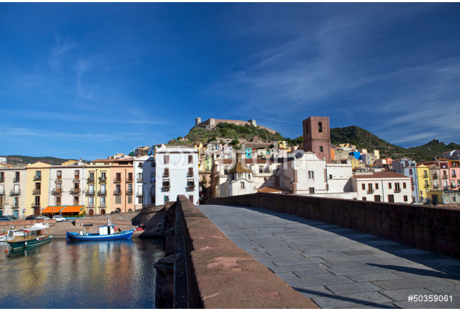View of Bosa and fort from the bridge, Sardinia, Italy 64239