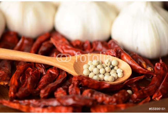 Teaspoon of white peppers with garlic bulb and dried chili. 64239