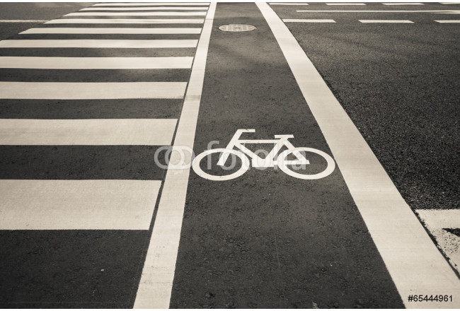 Toile déco bicycle sign, bicycle sign painted on road surface in Japan 64239