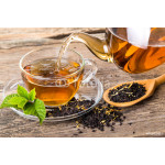 Tea composition with mint leaf on wooden palette 64239