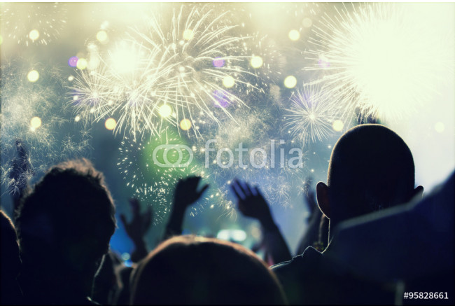New Year concept - cheering crowd and fireworks 64239