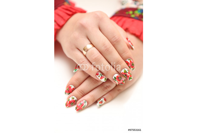 Painting close up of stylish manicure nails 64239