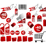 very big Set of red price tags in vector design 64239
