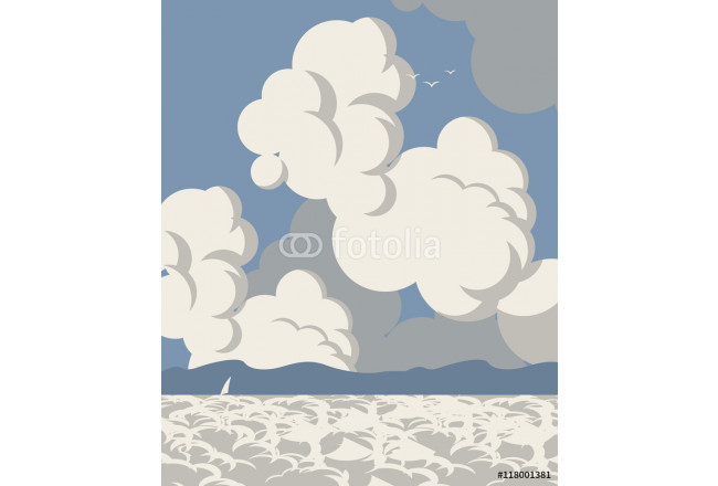 Vector seascape with clouds sailboat and mountains 64239