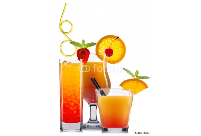 Orange cocktails with fruits isolated on white 64239