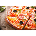 Pizza on Wood Background 64239