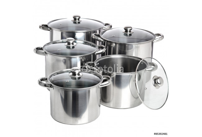 Set of stainless pots with glass lids isolated on white 64239