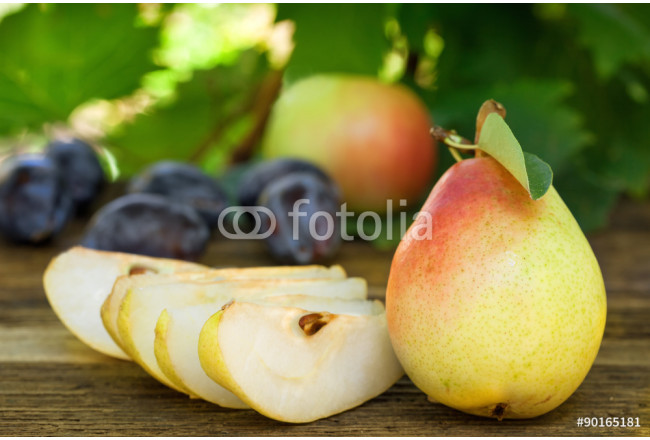Bild auf Leinwand Fresh ripe pears, plums and apples 64239