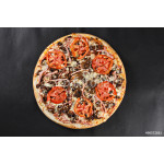 Hot tasty delicious rustic homemade american pizza with thick crust 64239