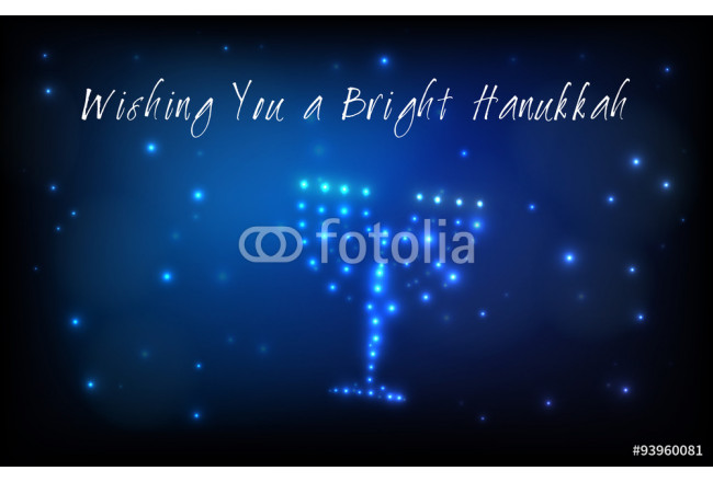 Greeting card for the Jewish holiday of Hanukkah. Menorah or Hanukkiya shaped out of stars in the night sky for the Jewish holiday of Hanukkah written with the blessing - Wishing You a Bright Hanukkah 64239