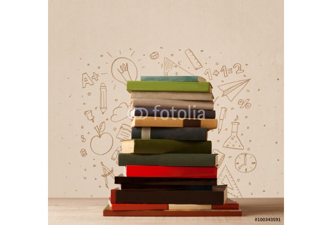 A pile of books on table with school hand drawn doodle sketches 64239