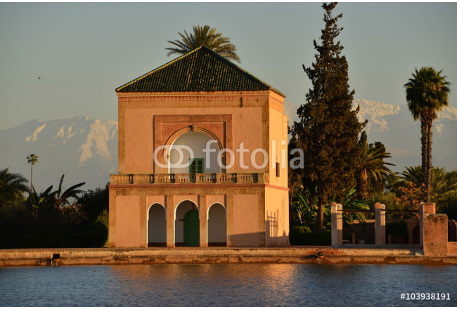 Menara park, Marrakech, Morocco,Africa.  The public park pavilion over looking the man made lake fed from the Atlas Mountains in the background. 64239