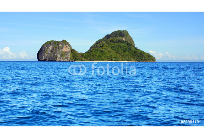 Sea landscape with Helicopter island. El Nido, Philippines 64239
