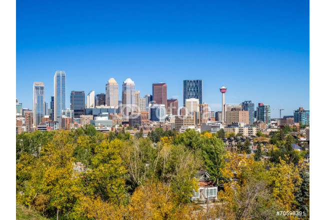 Calgary skyline from the south looking north in fall 64239
