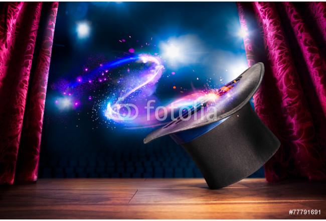 High contrast image of magician hat on a stage 64239