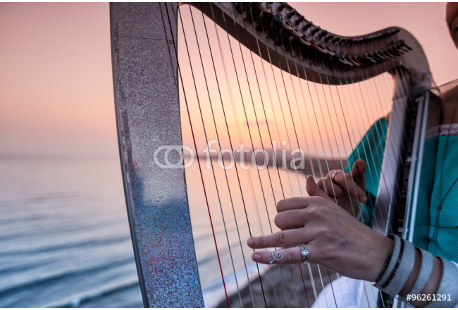 Close up of the hands of woman playing harp by the sea at sunset 64239