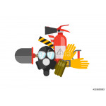 Safety equipment vector set. Fire protection and fire. A gas mas 64239