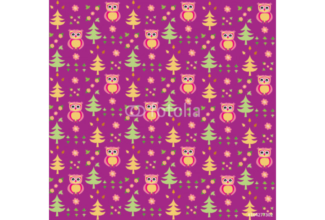 Art painting Seamless retro colourful owl bird pattern for kids 64239