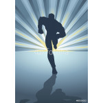 Silhouette of a male figure running in front of light burst 64239