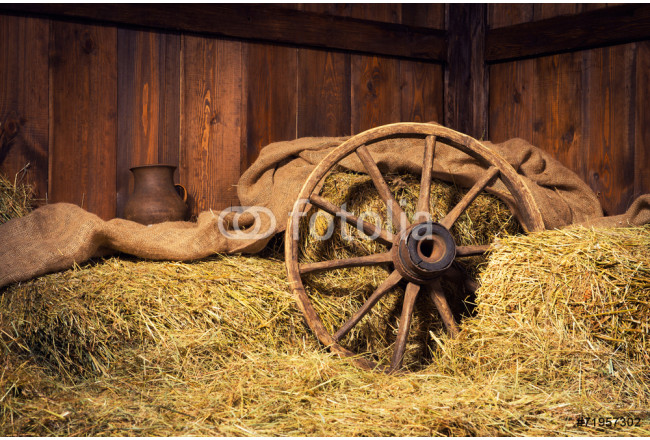 Interior of a rural farm - hay, wheel, pitcher. 64239