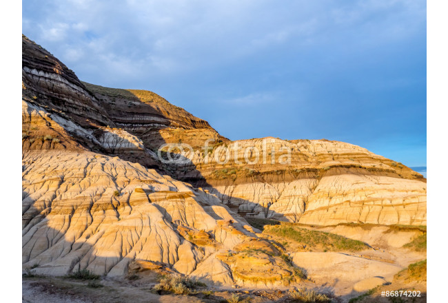 Art painting Badlands bathed in the warm light of a summer sunset near drumheller in Alberta Canada. 64239