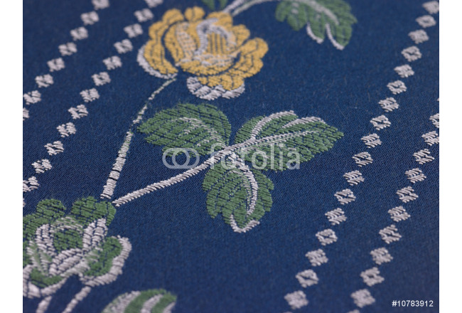 Yellow flower in blue background cloth 64239