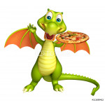 cute Dragon cartoon character with pizza 64239